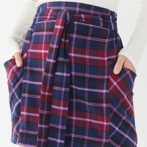 UO Cameron Flannel Tie- Front Mini Skirt Size XS